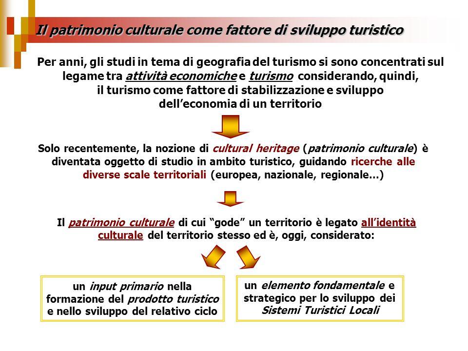 Il patrimonio culturale come fattore di sviluppo turistico Per anni, gli studi in tema di geografia del turismo si sono concentrati sul legame tra att