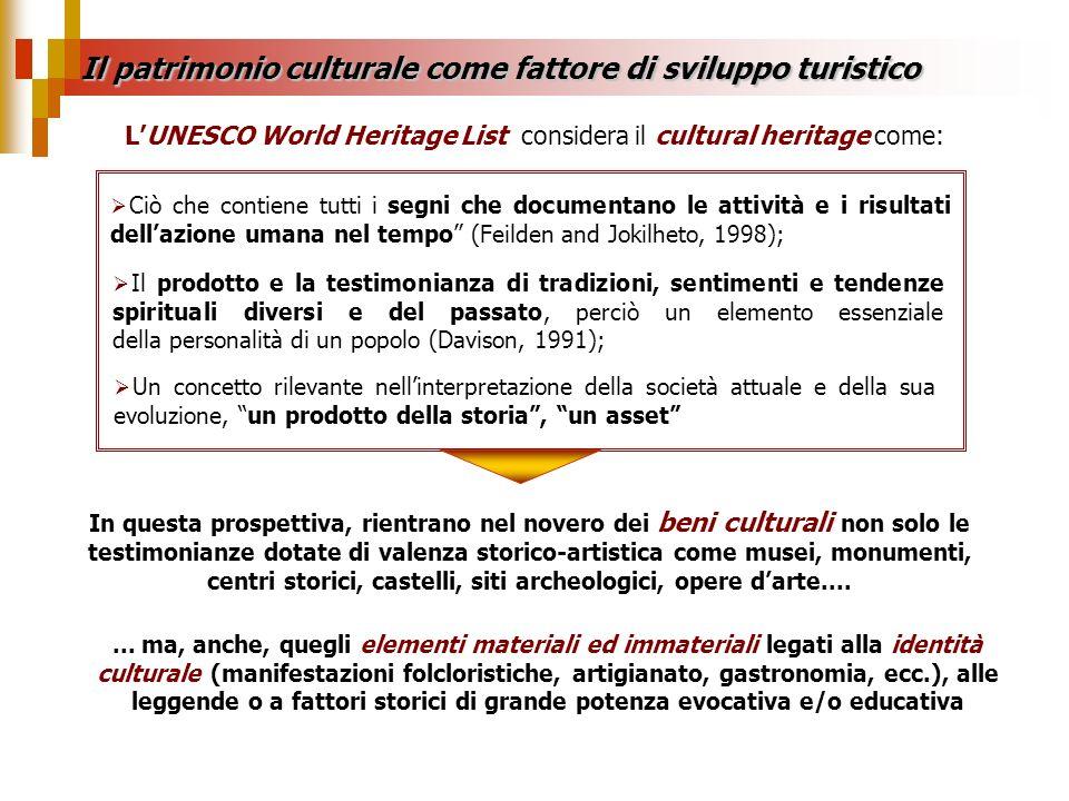 Il patrimonio culturale come fattore di sviluppo turistico In questa prospettiva, rientrano nel novero dei beni culturali non solo le testimonianze do