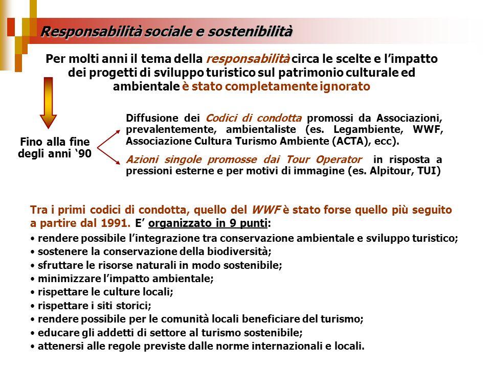 Responsabilità sociale e sostenibilità Per molti anni il tema della responsabilità circa le scelte e limpatto dei progetti di sviluppo turistico sul p