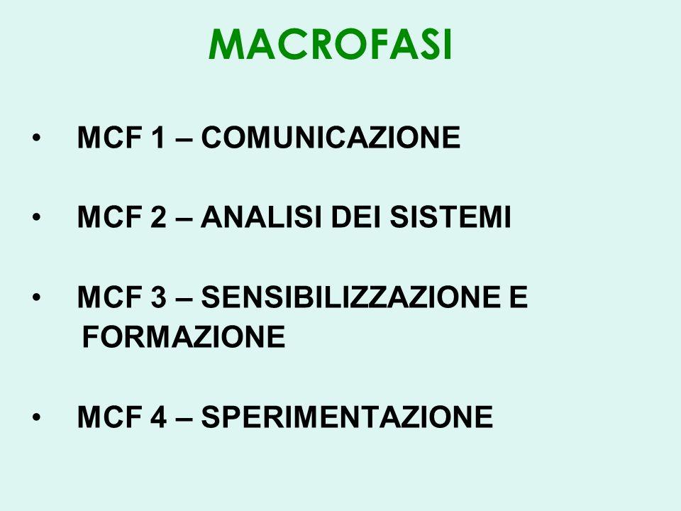 MACROFASI MCF 1 – COMUNICAZIONE MCF 2 – ANALISI DEI SISTEMI MCF 3 – SENSIBILIZZAZIONE E FORMAZIONE MCF 4 – SPERIMENTAZIONE