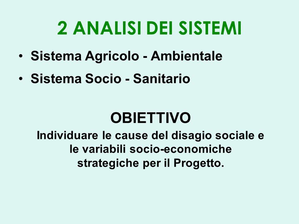 2 ANALISI DEI SISTEMI Sistema Agricolo - Ambientale Sistema Socio - Sanitario OBIETTIVO Individuare le cause del disagio sociale e le variabili socio-economiche strategiche per il Progetto.