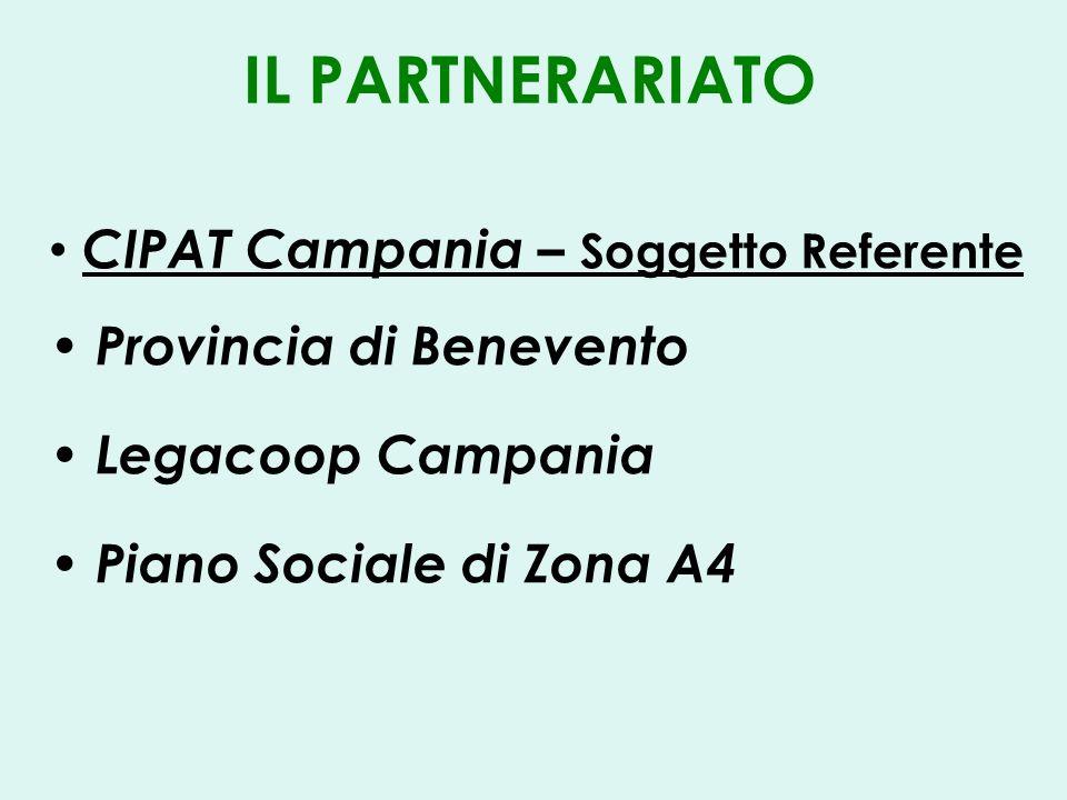 IL PARTNERARIATO CIPAT Campania – Soggetto Referente Provincia di Benevento Legacoop Campania Piano Sociale di Zona A4