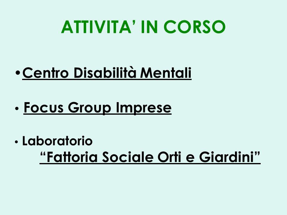 ATTIVITA IN CORSO Centro Disabilità Mentali Focus Group Imprese Laboratorio Fattoria Sociale Orti e Giardini