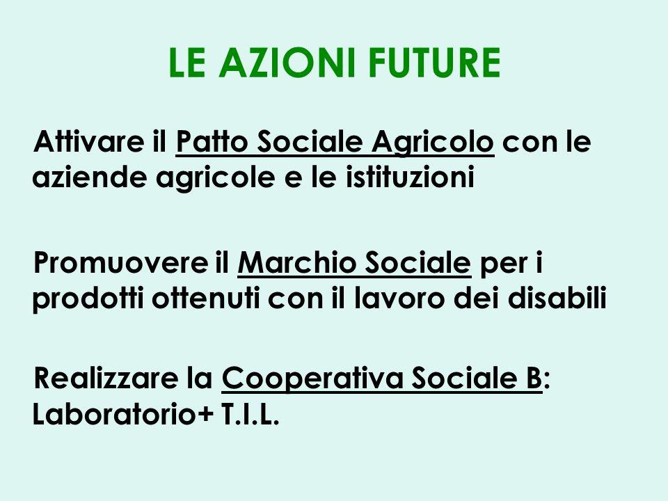 LE AZIONI FUTURE Attivare il Patto Sociale Agricolo con le aziende agricole e le istituzioni Promuovere il Marchio Sociale per i prodotti ottenuti con il lavoro dei disabili Realizzare la Cooperativa Sociale B: Laboratorio+ T.I.L.
