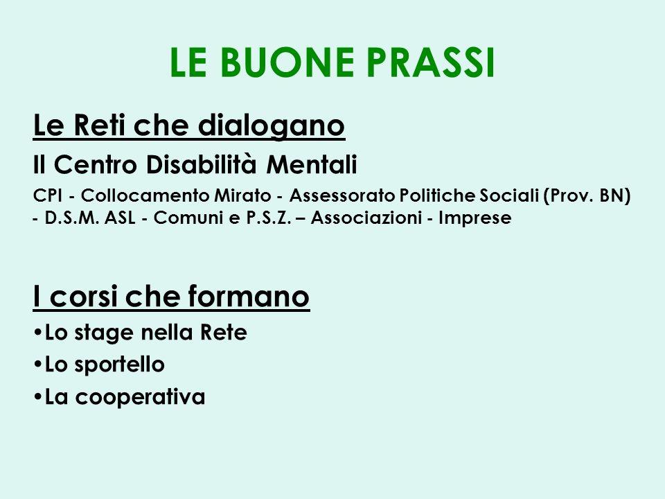 LE BUONE PRASSI Le Reti che dialogano Il Centro Disabilità Mentali CPI - Collocamento Mirato - Assessorato Politiche Sociali (Prov.