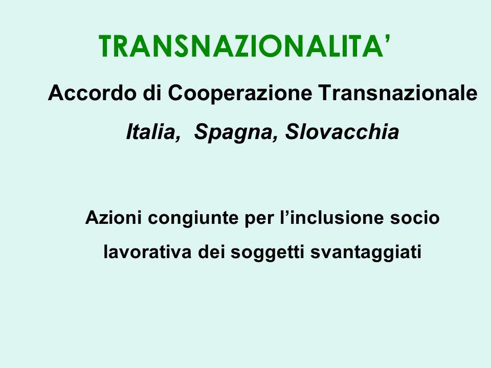 TRANSNAZIONALITA Accordo di Cooperazione Transnazionale Italia, Spagna, Slovacchia Azioni congiunte per linclusione socio lavorativa dei soggetti svantaggiati