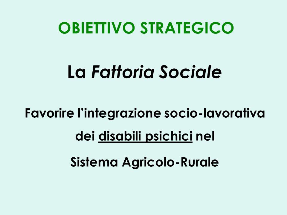 OBIETTIVO STRATEGICO La Fattoria Sociale Favorire lintegrazione socio-lavorativa dei disabili psichici nel Sistema Agricolo-Rurale