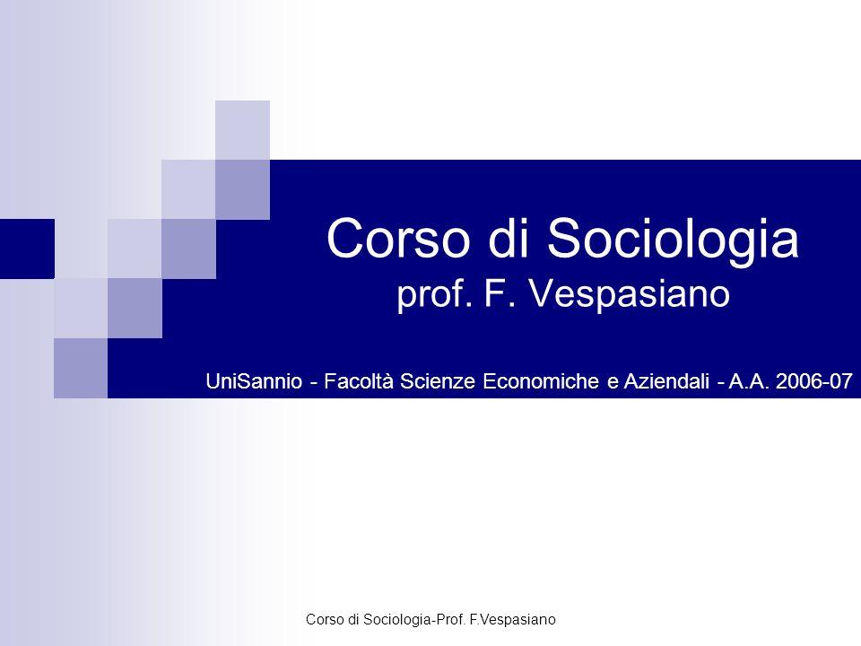 Corso di Sociologia-Prof. F.Vespasiano Corso di Sociologia prof. F. Vespasiano UniSannio - Facoltà Scienze Economiche e Aziendali - A.A. 2006-07