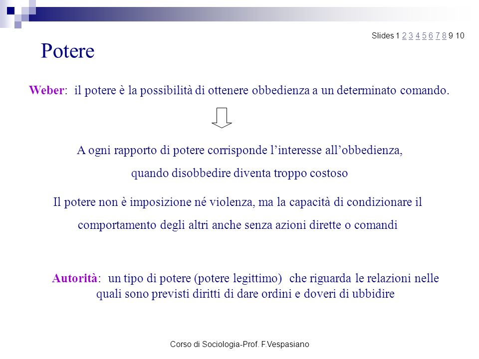 Corso di Sociologia-Prof. F.Vespasiano Potere Weber: il potere è la possibilità di ottenere obbedienza a un determinato comando. Autorità: un tipo di