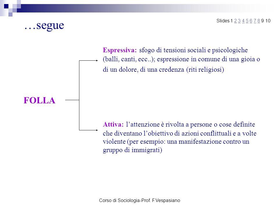 Corso di Sociologia-Prof. F.Vespasiano …segue FOLLA Espressiva: sfogo di tensioni sociali e psicologiche (balli, canti, ecc..); espressione in comune