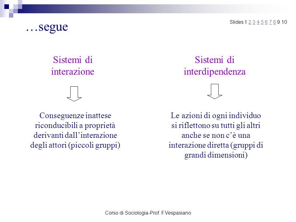 Corso di Sociologia-Prof. F.Vespasiano …segue Sistemi di interazione Sistemi di interdipendenza Conseguenze inattese riconducibili a proprietà derivan