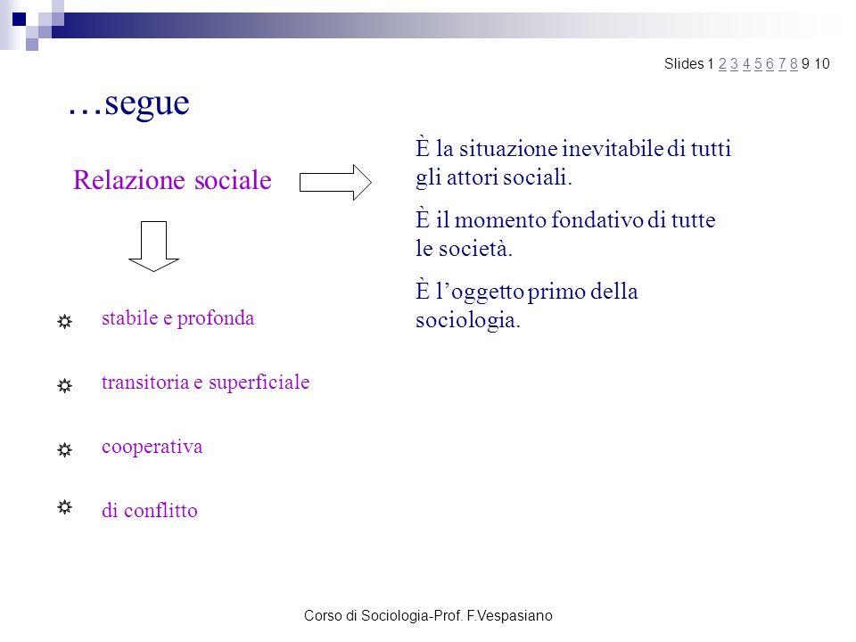 Corso di Sociologia-Prof. F.Vespasiano … segue Relazione sociale È la situazione inevitabile di tutti gli attori sociali. È il momento fondativo di tu