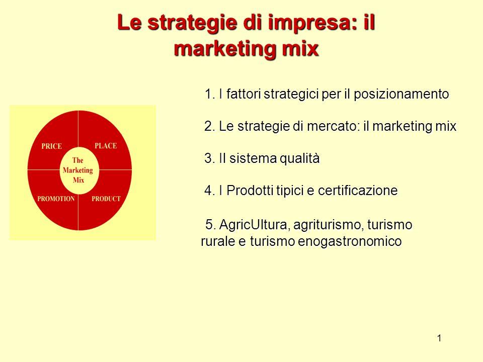 1 Le strategie di impresa: il marketing mix 1. I fattori strategici per il posizionamento 2. Le strategie di mercato: il marketing mix 3. Il sistema q