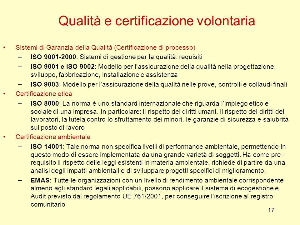 17 Sistemi di Garanzia della Qualità (Certificazione di processo) –ISO 9001-2000: Sistemi di gestione per la qualità: requisiti –ISO 9001 e ISO 9002: