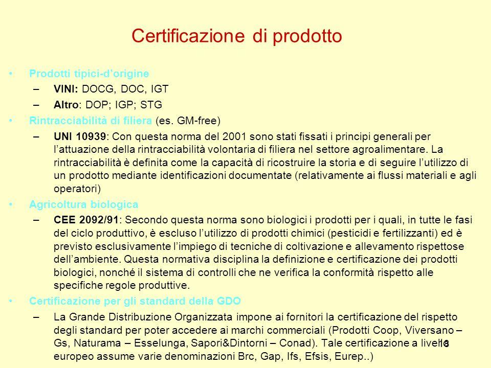 18 Prodotti tipici-dorigine –VINI: DOCG, DOC, IGT –Altro: DOP; IGP; STG Rintracciabilità di filiera (es. GM-free) –UNI 10939: Con questa norma del 200