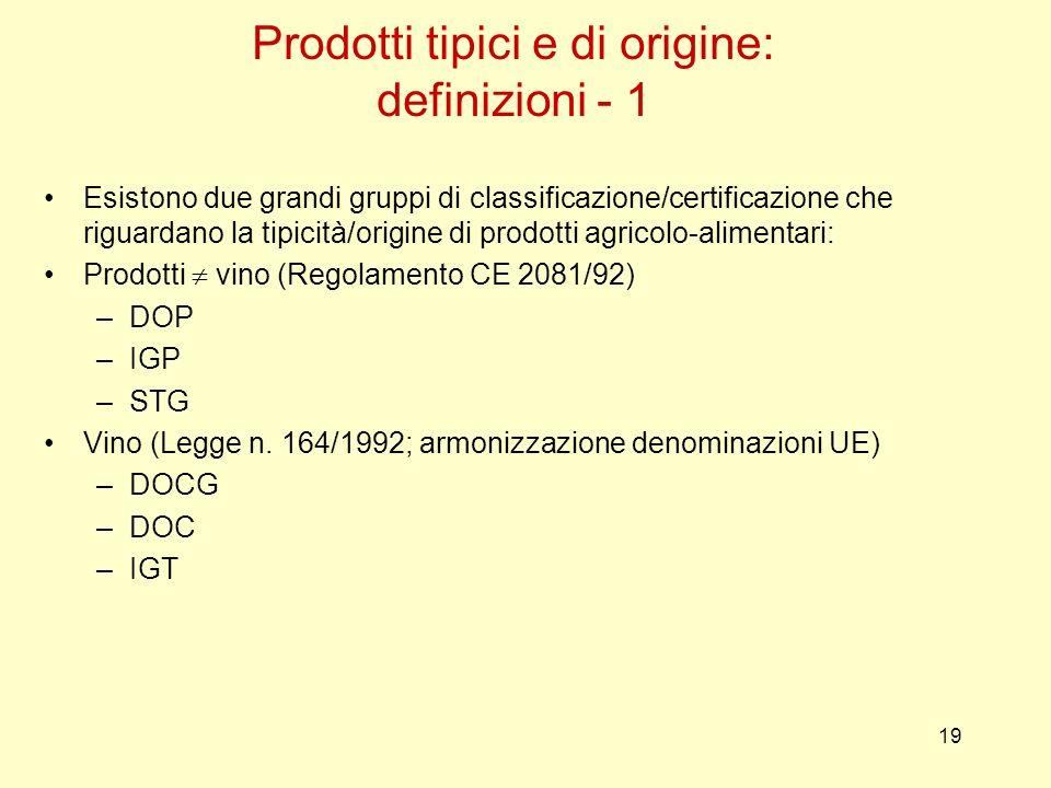 19 Esistono due grandi gruppi di classificazione/certificazione che riguardano la tipicità/origine di prodotti agricolo-alimentari: Prodotti vino (Reg