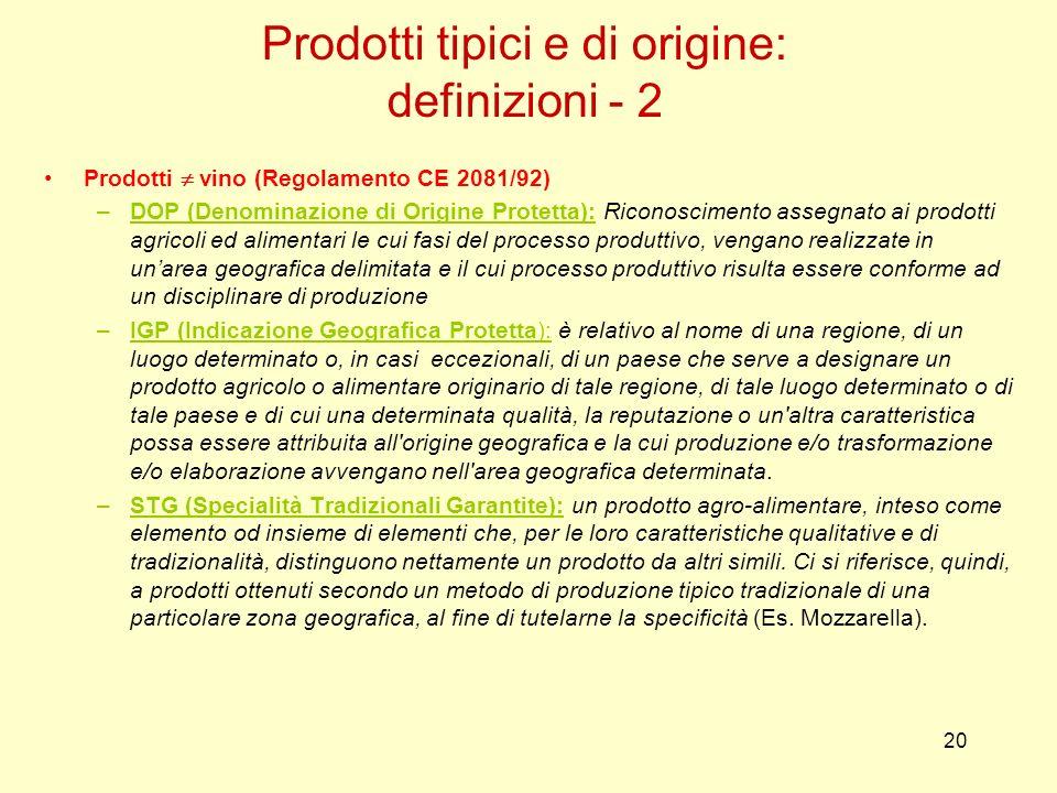 20 Prodotti vino (Regolamento CE 2081/92) –DOP (Denominazione di Origine Protetta): Riconoscimento assegnato ai prodotti agricoli ed alimentari le cui