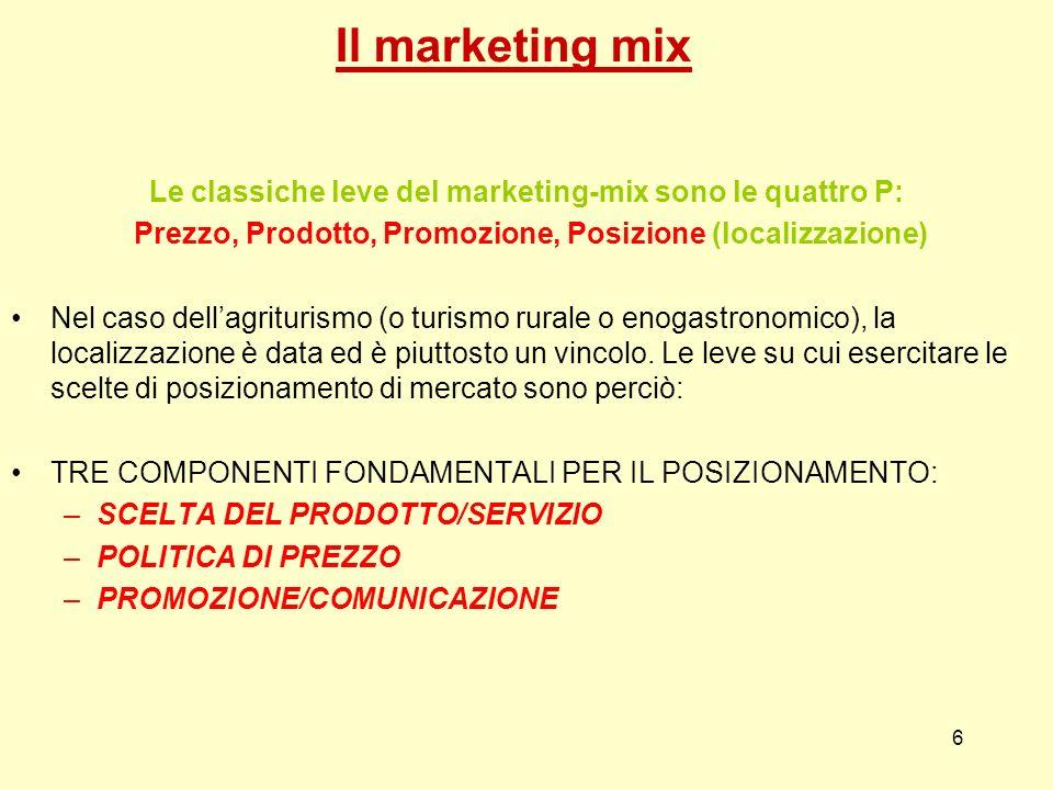 6 Il marketing mix Le classiche leve del marketing-mix sono le quattro P: Prezzo, Prodotto, Promozione, Posizione (localizzazione) Nel caso dellagritu