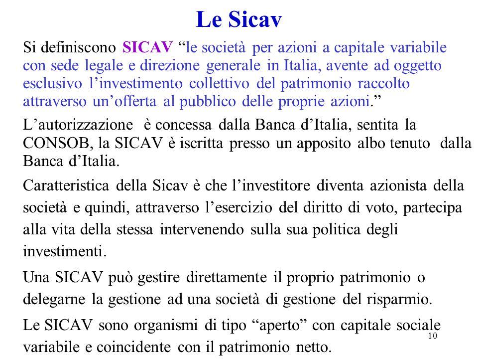 10 Le Sicav Si definiscono SICAV le società per azioni a capitale variabile con sede legale e direzione generale in Italia, avente ad oggetto esclusiv