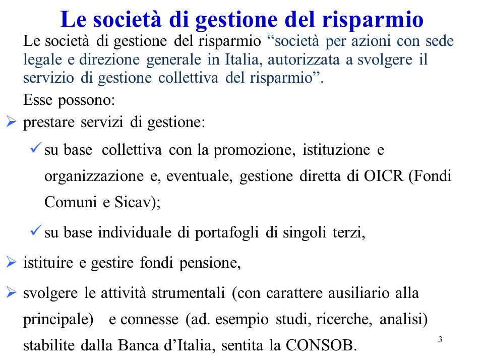 3 Le società di gestione del risparmio Le società di gestione del risparmio società per azioni con sede legale e direzione generale in Italia, autoriz