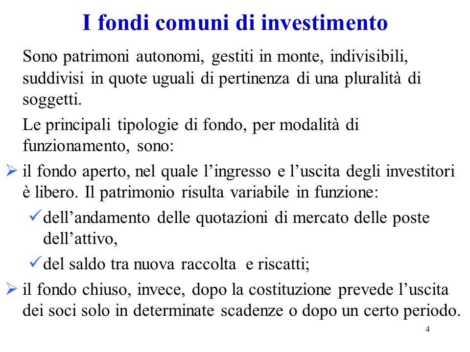 5 I fondi comuni di investimenti (2) Si possono ancora classificare per tipo di oggetto in : fondi mobiliari, se investiti in strumenti finanziari, che a loro volta si classificano in: –azionari, se prevalentemente investiti in azioni, obbligazioni convertibili e simili; –bilanciati con il portafoglio distribuito tra titoli a reddito e titoli a contenuto patrimoniale; –obbligazionari, se prevalentemente investiti in obbligazioni; –di liquidità, se investiti in obbligazioni con scadenza inferiore ai sei mesi; –flessibili, se la struttura del portafoglio varia a discrezione del gestore.
