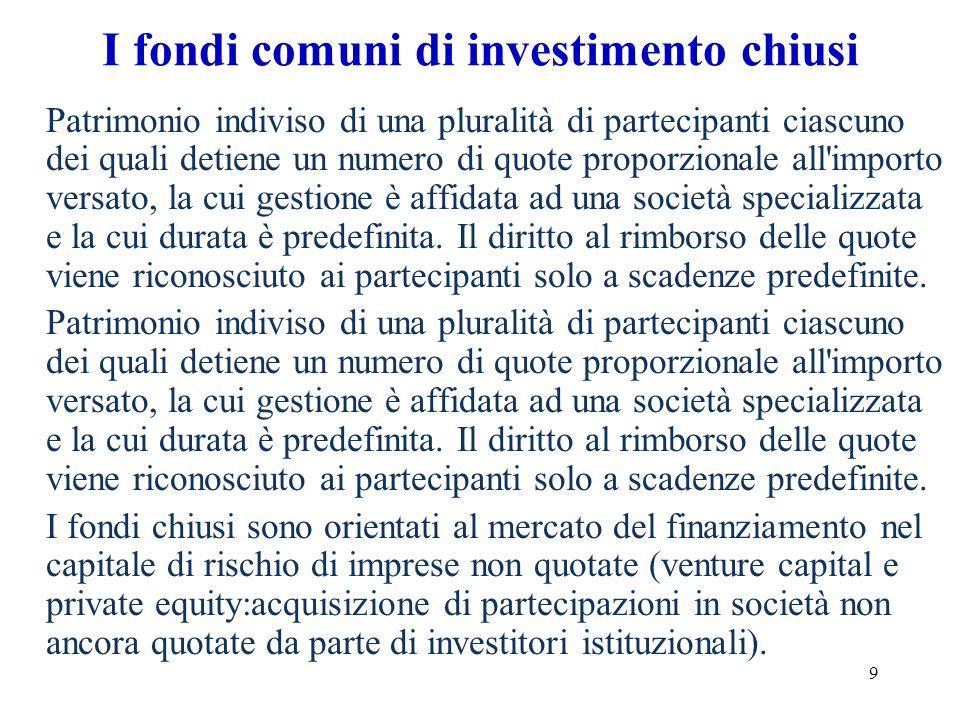 10 Le Sicav Si definiscono SICAV le società per azioni a capitale variabile con sede legale e direzione generale in Italia, avente ad oggetto esclusivo linvestimento collettivo del patrimonio raccolto attraverso unofferta al pubblico delle proprie azioni.