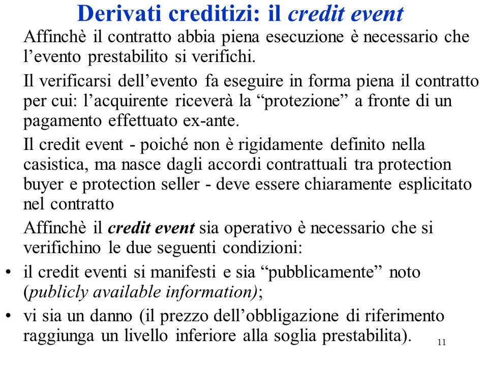 11 Derivati creditizi: il credit event Affinchè il contratto abbia piena esecuzione è necessario che levento prestabilito si verifichi.