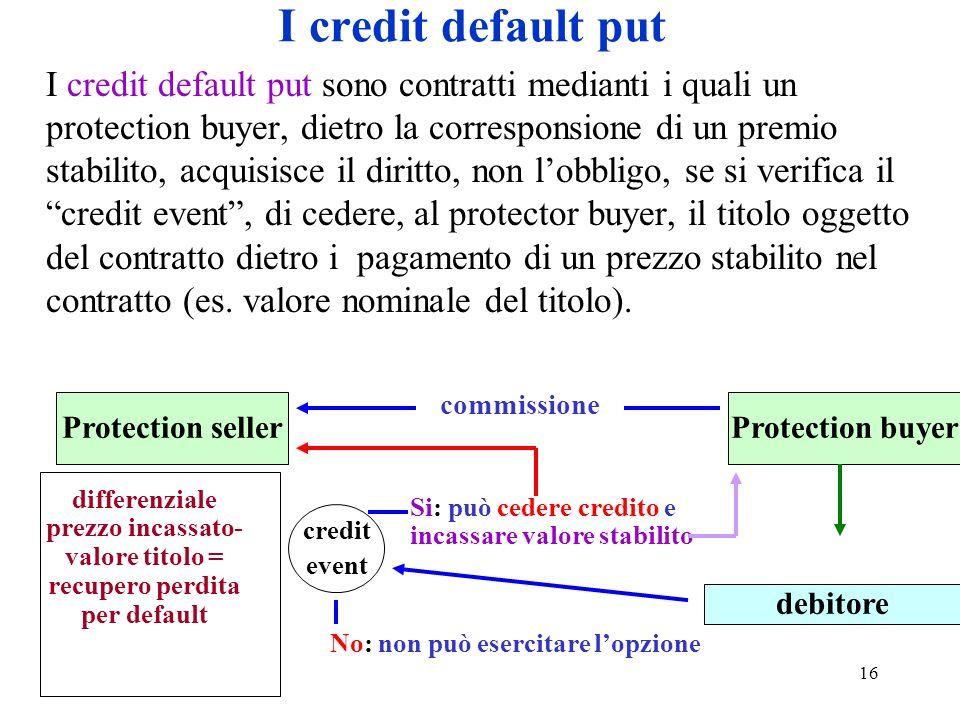 16 I credit default put I credit default put sono contratti medianti i quali un protection buyer, dietro la corresponsione di un premio stabilito, acq