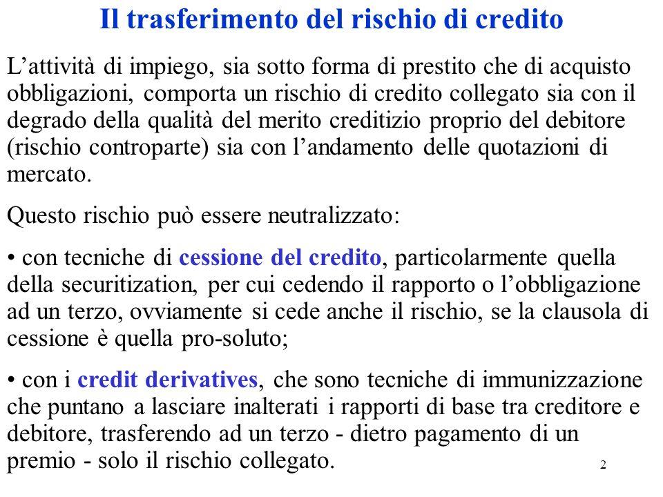 2 Il trasferimento del rischio di credito Lattività di impiego, sia sotto forma di prestito che di acquisto obbligazioni, comporta un rischio di credito collegato sia con il degrado della qualità del merito creditizio proprio del debitore (rischio controparte) sia con landamento delle quotazioni di mercato.