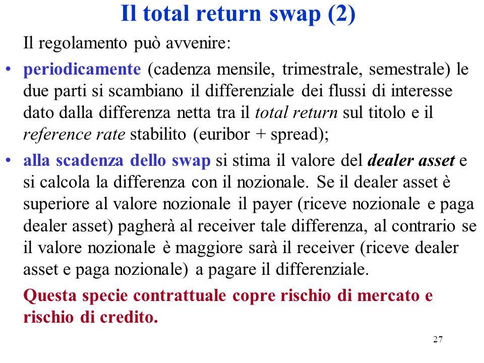 27 Il total return swap (2) Il regolamento può avvenire: periodicamente (cadenza mensile, trimestrale, semestrale) le due parti si scambiano il differenziale dei flussi di interesse dato dalla differenza netta tra il total return sul titolo e il reference rate stabilito (euribor + spread); alla scadenza dello swap si stima il valore del dealer asset e si calcola la differenza con il nozionale.