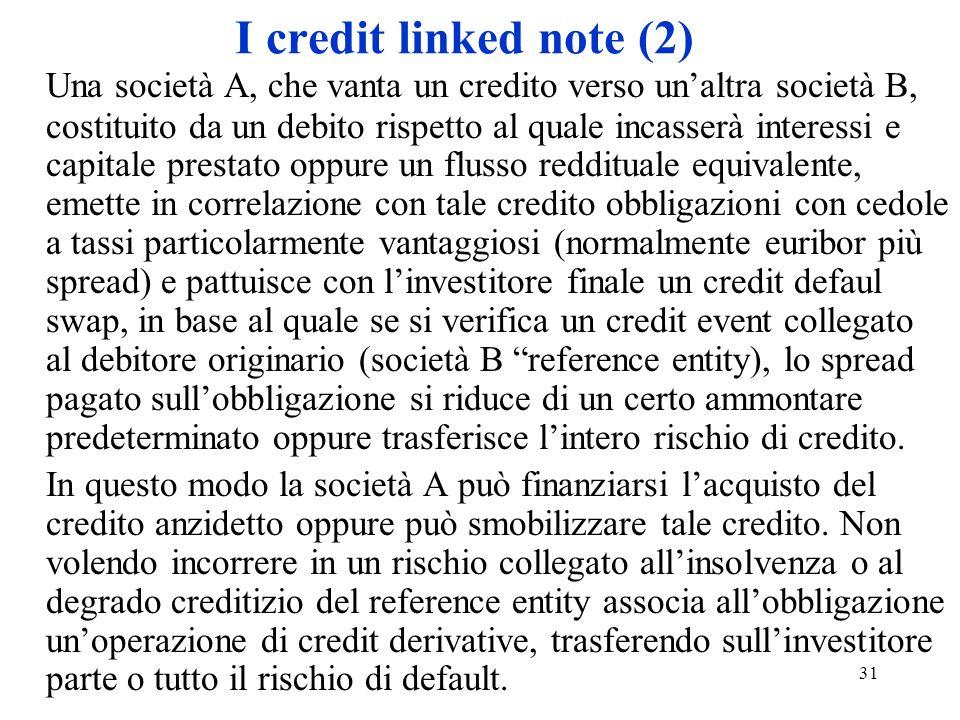 31 I credit linked note (2) Una società A, che vanta un credito verso unaltra società B, costituito da un debito rispetto al quale incasserà interessi