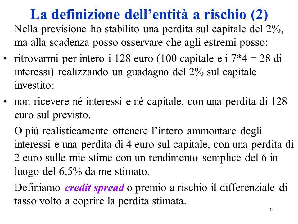 6 La definizione dellentità a rischio (2) Nella previsione ho stabilito una perdita sul capitale del 2%, ma alla scadenza posso osservare che agli estremi posso: ritrovarmi per intero i 128 euro (100 capitale e i 7*4 = 28 di interessi) realizzando un guadagno del 2% sul capitale investito: non ricevere né interessi e né capitale, con una perdita di 128 euro sul previsto.