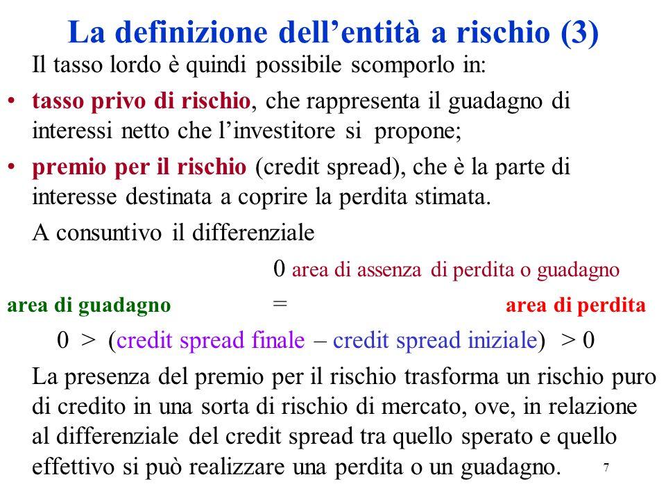 7 La definizione dellentità a rischio (3) Il tasso lordo è quindi possibile scomporlo in: tasso privo di rischio, che rappresenta il guadagno di inter