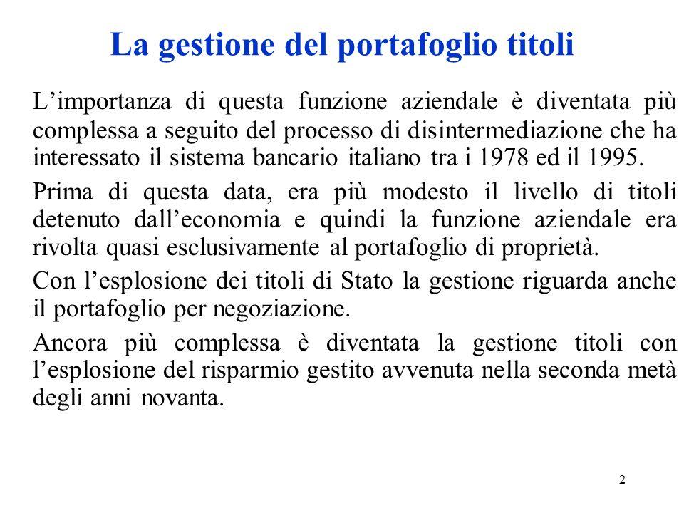 2 La gestione del portafoglio titoli Limportanza di questa funzione aziendale è diventata più complessa a seguito del processo di disintermediazione che ha interessato il sistema bancario italiano tra i 1978 ed il 1995.