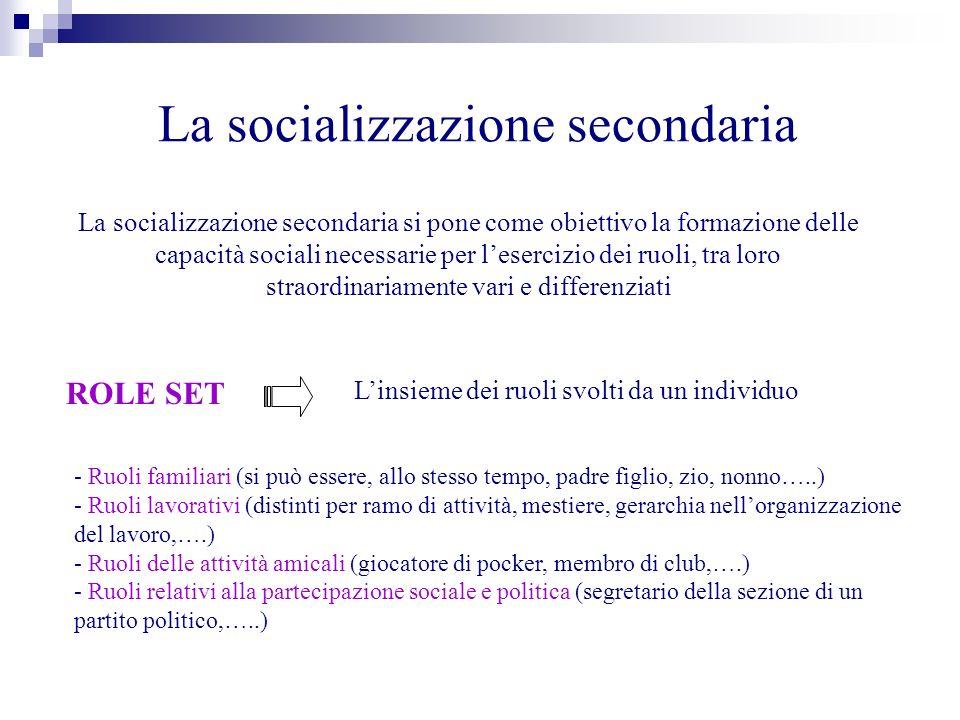 La socializzazione secondaria La socializzazione secondaria si pone come obiettivo la formazione delle capacità sociali necessarie per lesercizio dei