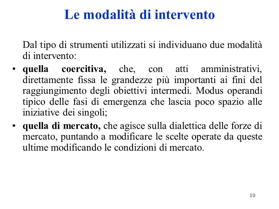 10 Le modalità di intervento Dal tipo di strumenti utilizzati si individuano due modalità di intervento: quella coercitiva, che, con atti amministrativi, direttamente fissa le grandezze più importanti ai fini del raggiungimento degli obiettivi intermedi.