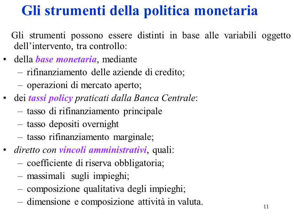 11 Gli strumenti della politica monetaria Gli strumenti possono essere distinti in base alle variabili oggetto dellintervento, tra controllo: della ba