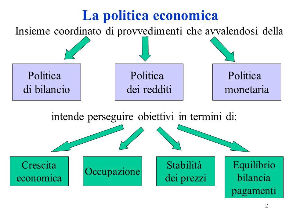 2 La politica economica Politica dei redditi Politica di bilancio Politica monetaria Insieme coordinato di provvedimenti che avvalendosi della intende perseguire obiettivi in termini di: Crescita economica Occupazione Stabilità dei prezzi Equilibrio bilancia pagamenti
