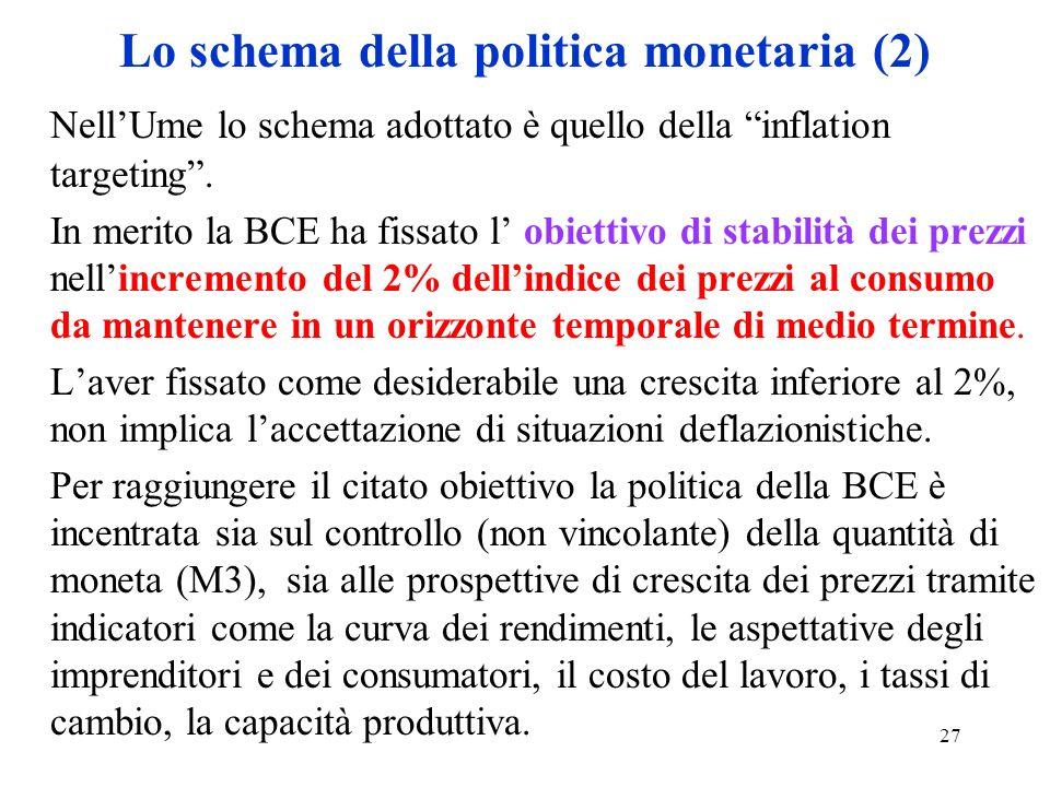 27 Lo schema della politica monetaria (2) NellUme lo schema adottato è quello della inflation targeting. In merito la BCE ha fissato l obiettivo di st