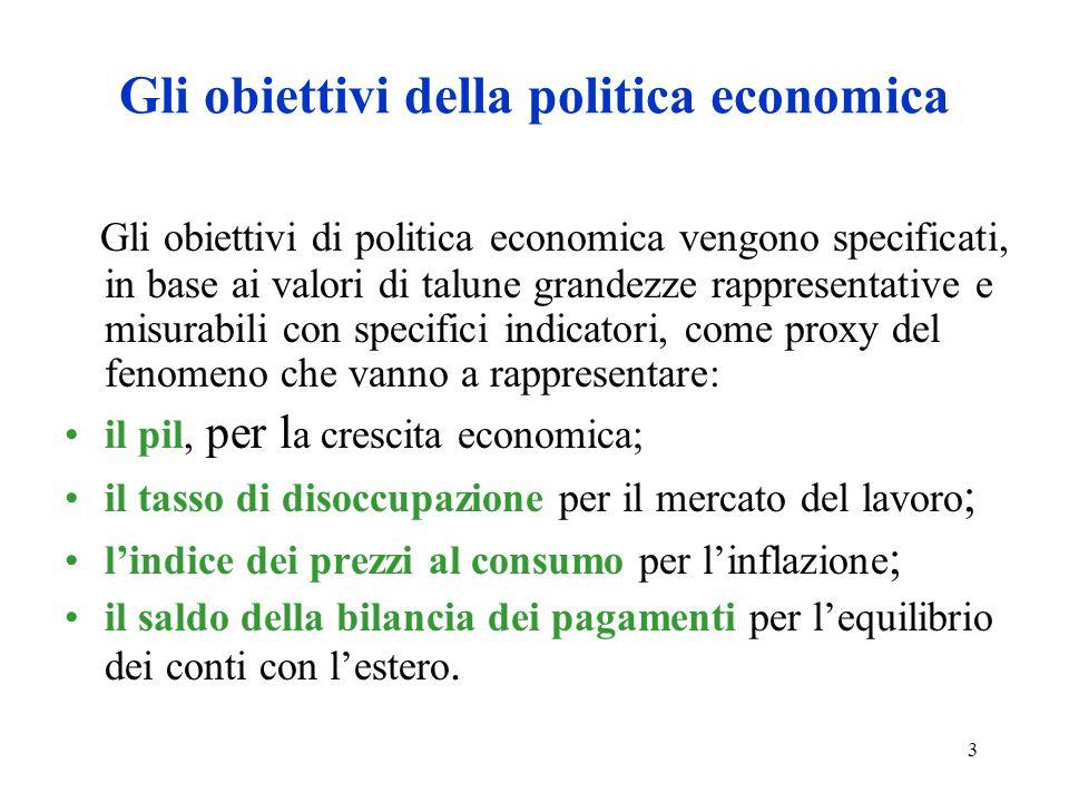 3 Gli obiettivi della politica economica Gli obiettivi di politica economica vengono specificati, in base ai valori di talune grandezze rappresentativ