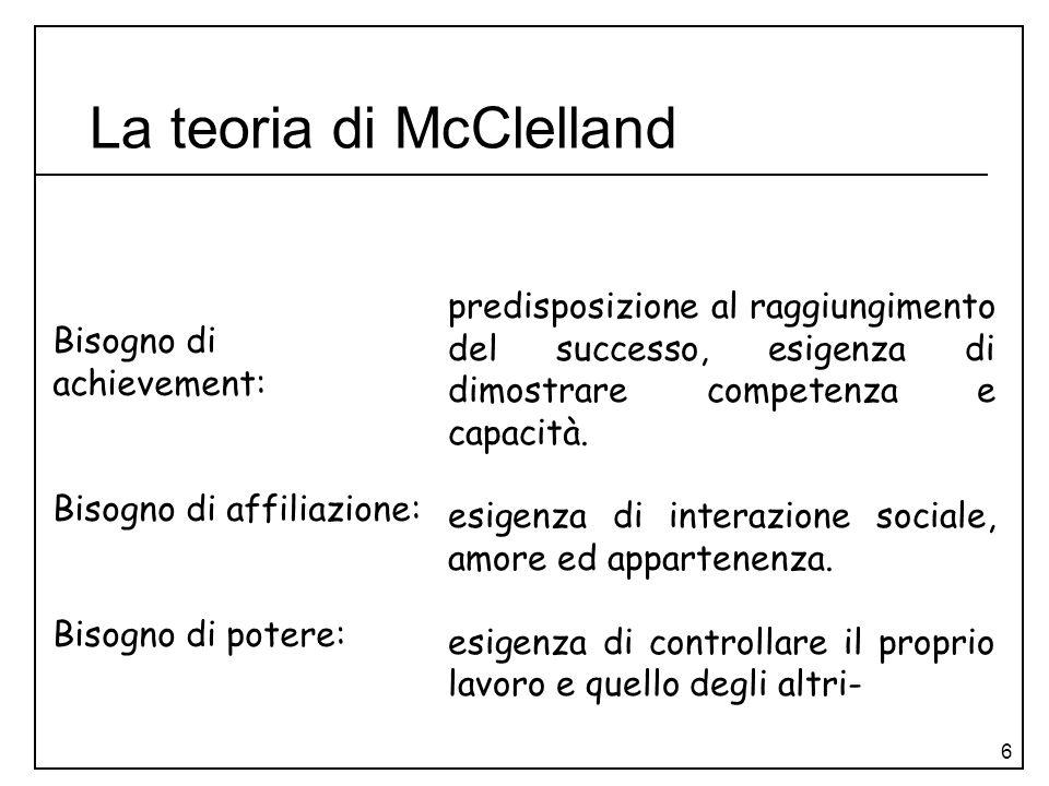 6 La teoria di McClelland Bisogno di achievement: Bisogno di affiliazione: Bisogno di potere: predisposizione al raggiungimento del successo, esigenza