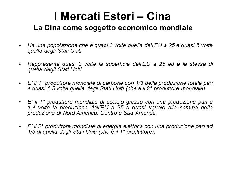 I Mercati Esteri – Cina La Cina come soggetto economico mondiale Ha una popolazione che è quasi 3 volte quella dellEU a 25 e quasi 5 volte quella degl