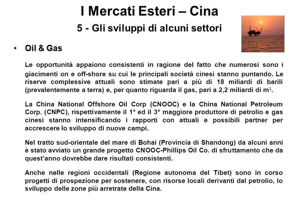 I Mercati Esteri – Cina 5 - Gli sviluppi di alcuni settori Oil & GasOil & Gas Le opportunità appaiono consistenti in ragione del fatto che numerosi so