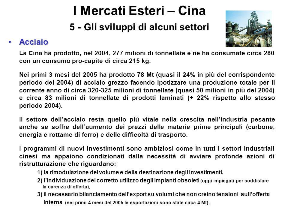 I Mercati Esteri – Cina 5 - Gli sviluppi di alcuni settori AcciaioAcciaio La Cina ha prodotto, nel 2004, 277 milioni di tonnellate e ne ha consumate c