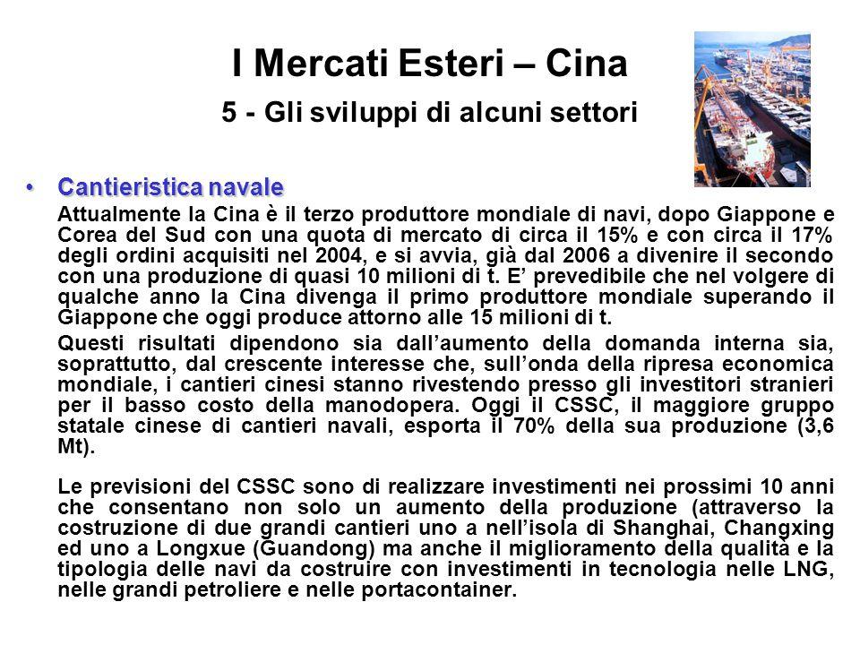 I Mercati Esteri – Cina 5 - Gli sviluppi di alcuni settori Cantieristica navaleCantieristica navale Attualmente la Cina è il terzo produttore mondiale