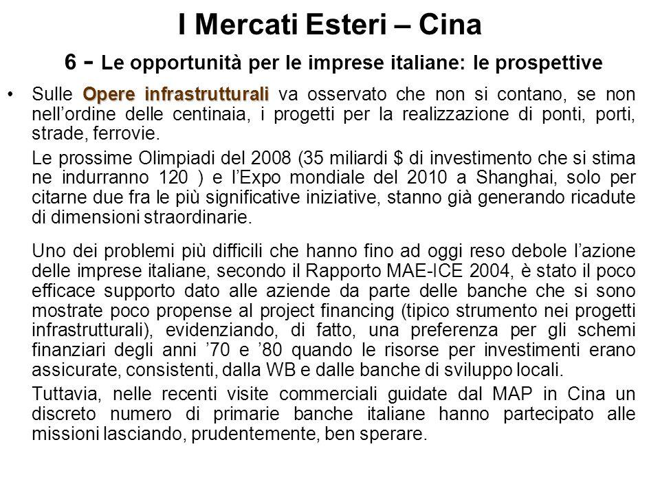 I Mercati Esteri – Cina 6 - Le opportunità per le imprese italiane: le prospettive Opere infrastrutturaliSulle Opere infrastrutturali va osservato che