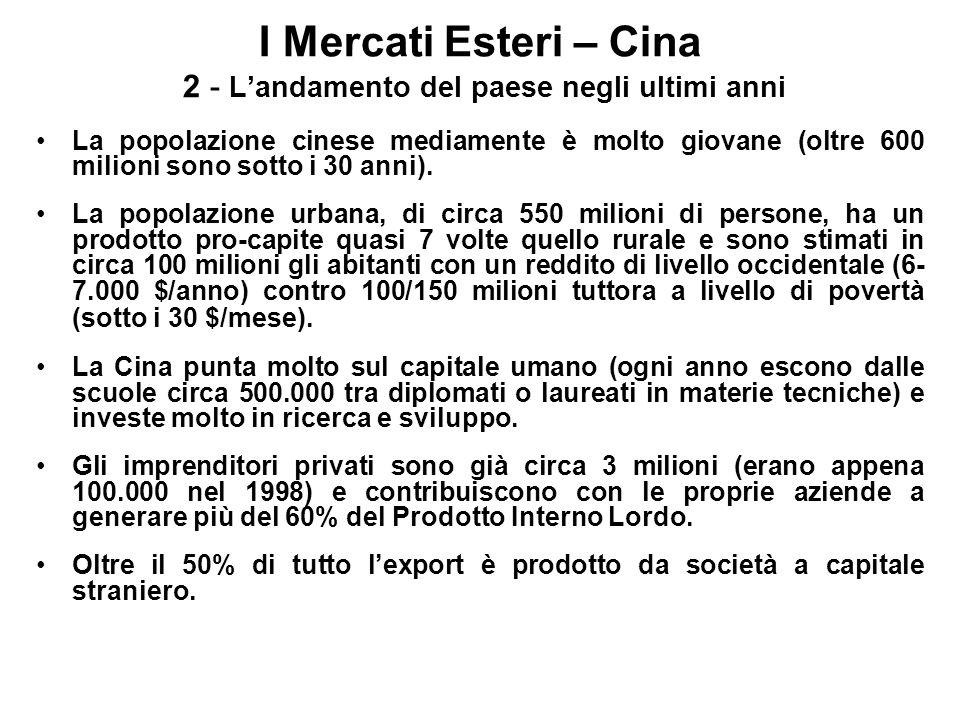 I Mercati Esteri – Cina 6 - Le opportunità per le imprese italiane: il quadro attuale La penetrazione commerciale italiana, fino alla fine degli anni 80 - primi novanta, è stata, a livello europeo, seconda dopo la Germania.
