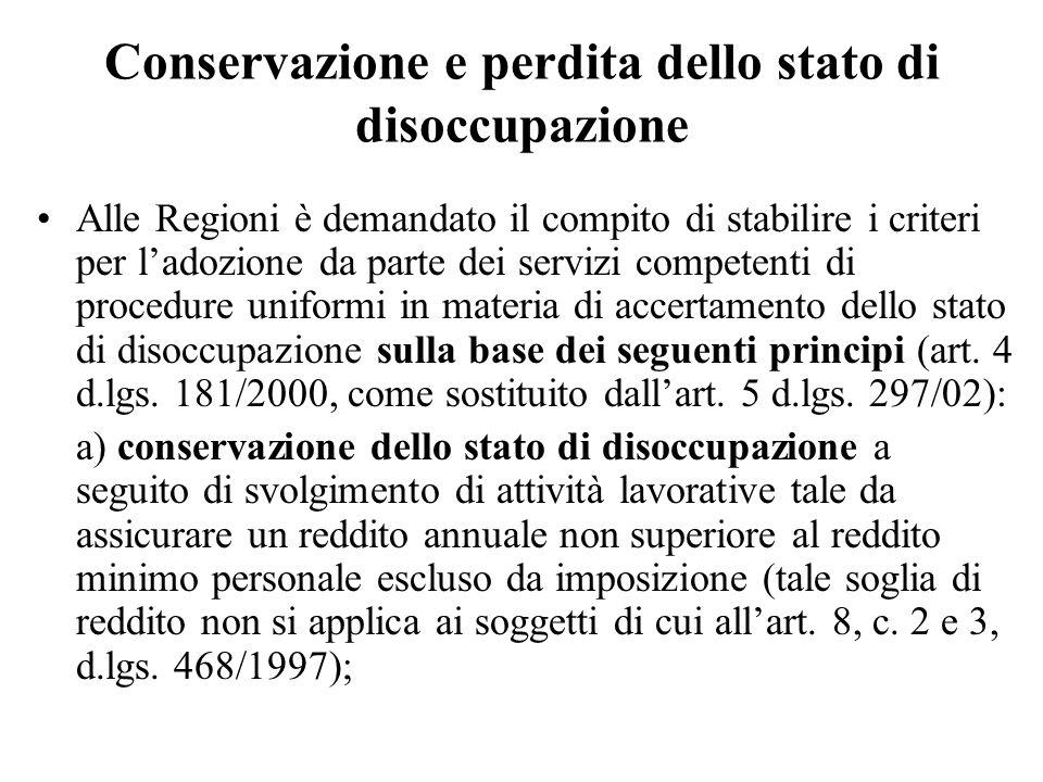 Conservazione e perdita dello stato di disoccupazione Alle Regioni è demandato il compito di stabilire i criteri per ladozione da parte dei servizi co