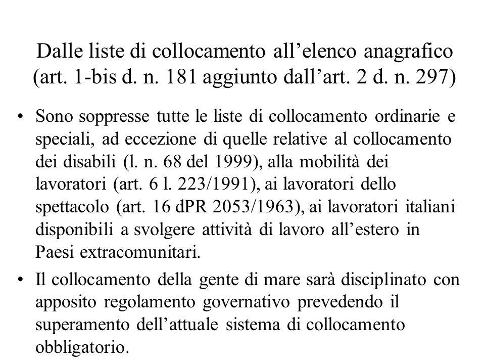 Dalle liste di collocamento allelenco anagrafico (art. 1-bis d. n. 181 aggiunto dallart. 2 d. n. 297) Sono soppresse tutte le liste di collocamento or