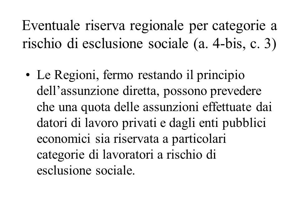Eventuale riserva regionale per categorie a rischio di esclusione sociale (a. 4-bis, c. 3) Le Regioni, fermo restando il principio dellassunzione dire